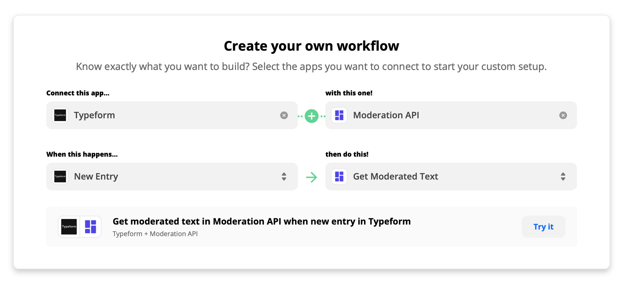 Zap connecting Google Sheets with Moderation API