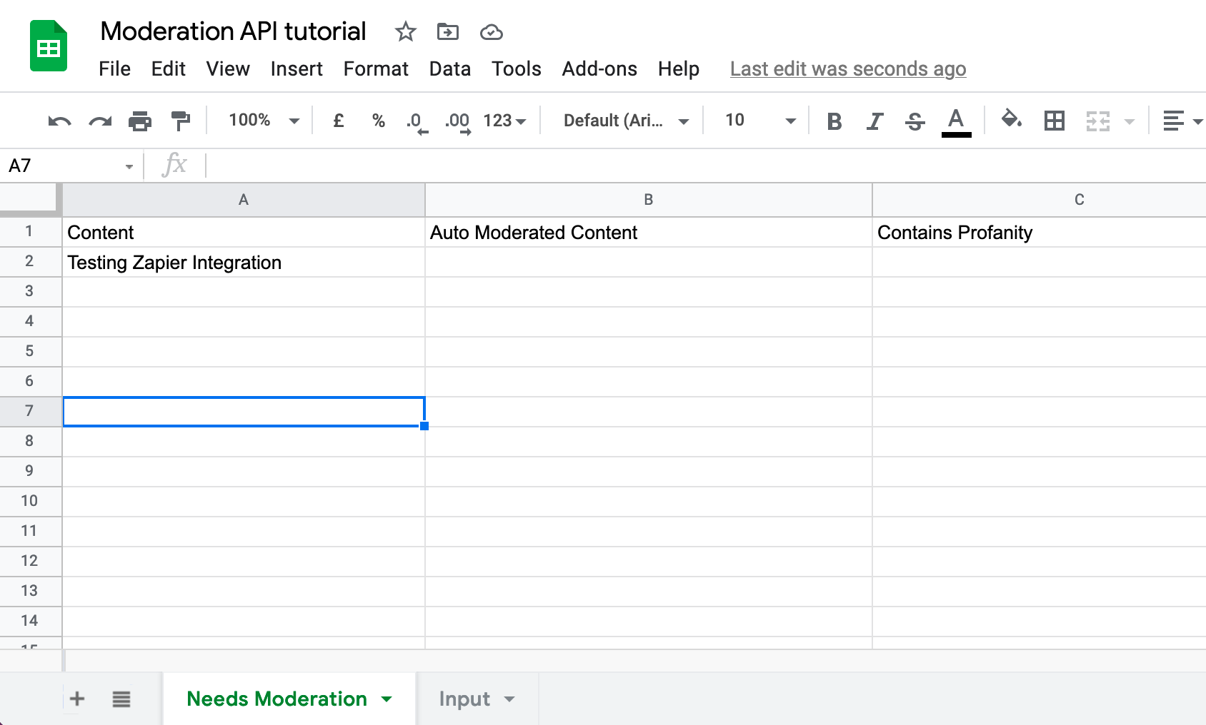 Google Sheet prepared for Moderation